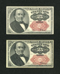Fractional Currency:Fifth Issue, Fr. 1309 25c Fifth Issue. Two Examples. Choice New.... (Total: 2notes)