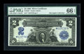 Large Size:Silver Certificates, Fr. 256 $2 1899 Silver Certificate Star Note PMG Gem Uncirculated 66 EPQ....