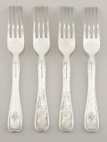Silver & Vertu:Flatware, A SET OF FOUR AMERICAN SILVER DESSERT FORKS. Tiffany & Co., New York, New York, circa 1880. Marks: TIFFANY & CO., STERLING... (Total: 4 Items)