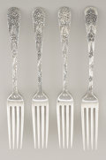 Silver Flatware, American:Tiffany, A SET OF FOUR AMERICAN SILVER LUNCHEON FORKS. Tiffany & Co.,New York, New York, circa 1890. Marks: TIFFANY & CO.,STERLIN... (Total: 4 Items)
