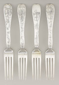Silver Flatware, American:Tiffany, A SET OF FOUR AMERICAN SILVER DESSERT FORKS. Tiffany & Co., NewYork, New York, circa 1880. Marks: TIFFANY & CO.,STERLING... (Total: 4 Items)