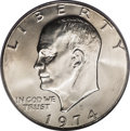 Eisenhower Dollars: , 1974-D $1 MS67 PCGS. Ex: Larry Shapiro. The massive mintage of business-strike Eisenhower dollars amounted to more than 45....