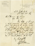 Autographs:Military Figures, General Daniel Sickles Autograph Letter Signed as Chairman of the New York Board of Commissioners, Gettysburg Monuments on i...