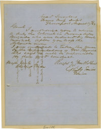 Autograph Letter Signed by Edmund Kirby Smith to Sterling Price Reinstating the Court Martialed Colonels of Marmaduke's...