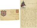 "Military & Patriotic:Civil War, Autograph Letter Signed Describing the Indian Campaign in Minnesota 1863, 5"" x 8"", four pages, on patriotic stationary, Dece... (Total: 2 )"