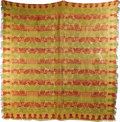 Political:Textile Display (pre-1896), William Henry Harrison: A Colorful Jacquard-Woven Coverlet. The border is decorated with folk art profiles of the presidents...