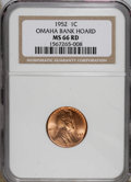 Lincoln Cents: , 1952 1C MS66 Red NGC. NGC Census: (398/43). PCGS Population(355/8). Mintage: 186,856,976. Numismedia Wsl. Price for NGC/PC...