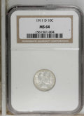 Barber Dimes: , 1911-D 10C MS64 NGC. NGC Census: (58/58). PCGS Population (55/93). Mintage: 11,209,000. Numismedia Wsl. Price for NGC/PCGS ...