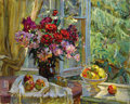 Fine Art - Painting, Russian:Contemporary (1950 to present), FEDOR VASILEVIC ANTONOV (Russian, 1904-1990). Still Life, At theWindow, 1953. Oil on canvas. 47 x 59 inches (119.4 x 14...