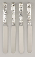 Silver Flatware, American:Tiffany, A SET OF 4 AMERICAN SILVER DINNER KNIVES. Tiffany & Co., NewYork, New York, circa 1880. Marks: TIFFANY & CO.,STERLING... (Total: 4 Items)