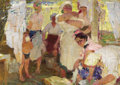 Fine Art - Painting, Russian:Modern (1900-1949), PETR IVANOVICH KOTOV (Russian, 1889-1953). Washing Day, 1934. Oil on canvas. 33 x 47 inches (83.8 x 119.4 cm). Inscribed...
