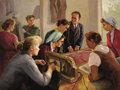 Fine Art - Painting, Russian, VALENTIN BOGDANOV (Russian, 1919-1985). The Machinistka (TheSewing Lesson), 1960. Oil on canvas. 39 x 52 inches (99.1 x...