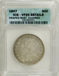 Early Half Dollars: , 1807 50C Draped Bust--Cleaned--ICG. VF20 Details. NGC Census:(28/581). PCGS Population (81/635). Mintage: 301,076. Numisme...