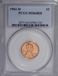 Lincoln Cents: , 1961-D 1C MS66 Red PCGS. PCGS Population (136/0). NGC Census:(345/43). Mintage: 1,753,266,688. Numismedia Wsl. Price for N...