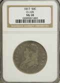 Bust Half Dollars: , 1817 50C VG10 NGC. O-105. NGC Census: (3/338). PCGS Population(1/329). Mintage: 1,215,567. Numismedia Wsl. Price for NGC/...