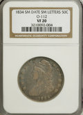 Bust Half Dollars: , 1834 50C Small Date, Small Letters VF20 NGC. O-112. NGC Census:(0/0). PCGS Population (5/467). (#6166)...