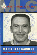 Hockey Collectibles:Others, 1959 Toronto Maple Leafs Team Signed Program. ...