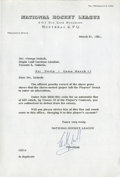 Hockey Collectibles:Others, 1961 Clarence Campbell Signed Typed Letter....