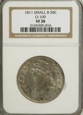 Bust Half Dollars: , 1811 50C Small 8 VF30 NGC. O-109. NGC Census: (0/0). PCGSPopulation (11/190). (#6097)...