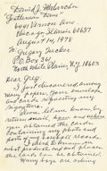 "Autographs:Others, 1978 ""Gentleman Dave"" Malarcher Handwritten Letter...."