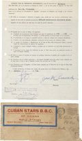 Autographs:Others, 1952 Jose Fernandez Signed Player's Contract & Mailing Envelope....