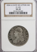 Bust Half Dollars: , 1834 50C Large Date, Small Letters VG10 NGC. O-105. PCGS Population(0/263). (#6165)...