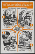"""Movie Posters:Action, Motorcycle Gang/Hot Rod Gang/Dragstrip Girl/Road Racers Combo(American International, 1961). One Sheet (27"""" X 41""""). Action...."""