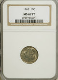 Roosevelt Dimes, 1965 10C MS67 Full bands NGC. NGC Census: (3/1). PCGS Population(18/1). Mintage: 1,652,140,544. (#5130)...