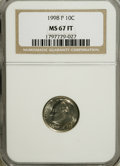 Roosevelt Dimes: , 1998-P 10C MS67 Full Bands NGC. PCGS Population (24/6). Mintage: 1,163,000,064. (#85195)...