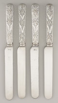 Silver Flatware, American:Tiffany, A SET OF FOUR AMERICAN SILVER DINNER KNIVES. Tiffany & Co., NewYork, New York, circa 1890. Marks: TIFFANY & CO.,STERLING... (Total: 4 Items)