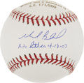 Autographs:Baseballs, Mark Buehrle Single Signed No-Hitter Baseball....