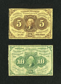 Fractional Currency:First Issue, Two Perforated Edges Without Monogram Fractionals.. ... (Total: 2 notes)