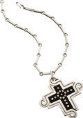 Estate Jewelry:Necklaces, Wood Inlay, Sterling Silver, Cross Pendant-Necklace. ... (Total: 2 Items)