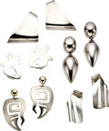 Estate Jewelry:Lots, Lot of Sterling Silver Earrings. ... (Total: 10 Items)