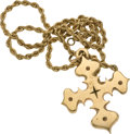 Estate Jewelry:Necklaces, Gold Cross Pendant-Necklace, James Avery. ... (Total: 2 Items)