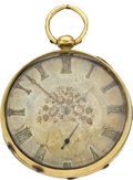 Timepieces:Pocket (pre 1900) , Swiss Fancy Dial Gold Keywind, circa 1870. ...