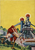 Pulp, Pulp-like, Digests, and Paperback Art, FRANK R. PAUL (American 1884 - 1963). Abduction of Big Red, Science Fiction Magazine cover, October 1940. Oil on canvas... (Total: 2 Items)