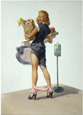 Pin-up and Glamour Art, ART FRAHM (American 1907 - 1981). O-Ooh!, 1950. Oil oncanvas. 32 x 24 in.. Signed lower right. ...