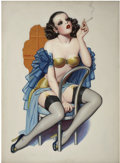 Pin-up and Glamour Art, ENOCH BOLLES (American 1883 - 1976). Untitled pulp cover,circa 1932. Oil on canvas. 30 x 22 in.. Not signed. ...