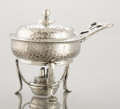 Silver Holloware, American:Chafing Dishes, AN AMERICAN SILVER COVERED CHAFING DISH ON STAND WITH BURNER.Tiffany & Co., New York, New York, 1881. Marks: TIFFANY& C...
