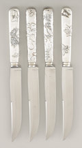 Silver Flatware, American:Tiffany, A SET OF FOUR AMERICAN SILVER STEAK KNIVES. Tiffany & Co., NewYork, New York, circa 1880. Marks: TIFFANY & CO.. 10-1/2... (Total: 4 Items)