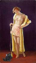 Pin-up and Glamour Art, EYRE (20th Century). Playtime. Oil on board. 24.5 x 17 in..Signed lower right. ...