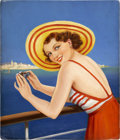 Pin-up and Glamour Art, EYRE (20th Century). Bathing Beauty With Binoculars. Oil onboard. 21 x 18 in.. Not signed. ...