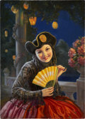Mainstream Illustration, EYRE (20th Century). Girl With a Fan. Oil on board. 19.5 x14 in.. Signed lower left. ...