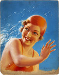 Pin-up and Glamour Art, EYRE (20th Century). Bathing Beauty. Oil on board. 23.5 x18.5 in.. Signed lower right. ...