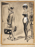 Pin-up and Glamour Art, BILL WARD (American 1919 - 1998). Jest, men's magazine cartoonillustration, July 1960. Mixed-media on paper. 23 x 17 in...