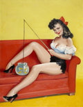 Pin-up and Glamour Art, Attributed to PETER DRIBEN (American 1903 - 1975). Joker #16,pulp cover, circa 1945-1955. Oil on board. 22 x 17 in.. No...
