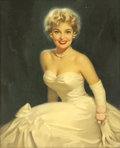 Pin-up and Glamour Art, WALT OTTO (American 1895 - 1963). Blonde Beauty, calendarillustration. Oil on canvas. 32 x 26 in.. Not signed. ...