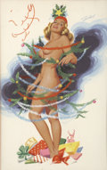 Pin-up and Glamour Art, BILL RANDALL (American 20th Century). Christmas Scene.Gouache on paper. 22 x 13.5 in.. Signed upper right. ...