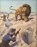 Mainstream Illustration, STANLEY L. WOOD (American 1866 - 1928). Lion Hunter. Oil oncanvas. 30 x 24 in.. Signed lower right. ...